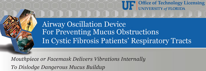 This is a screen-grab of a brochure that describes Dr. Davenport's patented invention, an Airway Oscillation Device to prevent mucus obstructions in cystic fibrosis patients's respiratory tracts